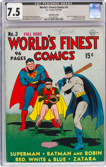 World's Finest Comics #3 Harold Curtis Pedigree (DC, 1941) CGC VF- 7.5 Off-white to white pages....