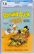 Golden Age (1938-1955):Cartoon Character, Four Color #9 Donald Duck (Dell, 1942) CGC FN/VF 7.0 Off-white pages....