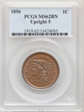 1856 1C Upright 5 MS62 Brown PCGS. PCGS Population: (54/284). NGC Census: (72/363). CDN: $240 Whsle. Bid for NGC/PCGS MS...
