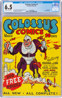 Colossus Comics #1 (Sun Publications, 1940) CGC FN+ 6.5 Off-white to white pages