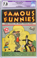 Platinum Age (1897-1937):Miscellaneous, Famous Funnies #1 (Eastern Color, 1934) CGC Apparent FN/VF 7.0 Moderate (A-3) Off-white to white pages....