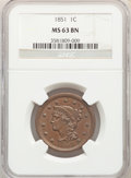 Large Cents: , 1851 1C MS63 Brown NGC. NGC Census: (114/313). PCGS Population: (163/295). CDN: $235 Whsle. Bid for NGC/PCGS MS63. Mintage ...