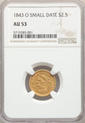Liberty Quarter Eagles, 1843-O $2 1/2 Small Date, Crosslet 4 AU53 NGC. NGC Census: (93/434). PCGS Population: (38/132). CDN: $425 Whsle. Bid for NG...