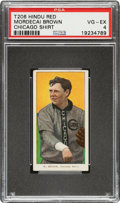 Baseball Cards:Singles (Pre-1930), 1909-11 T206 Hindu-Red Mordecai Brown (Chicago On Shirt) PSA VG-EX 4 - Very Rare, Total PSA Pop is Four! ...