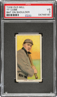 1909-11 T206 Old Mill Ty Cobb (Bat On Shoulder) PSA VG 3 - The Finest of only Four Graded Examples!