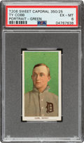 Baseball Cards:Singles (Pre-1930), 1909-11 T206 Sweet Caporal 350/25 Ty Cobb (Portrait-Green) PSA EX-MT 6 - Only Eight Confirmed for Brand/Series/Factory Combina...