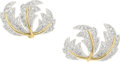Estate Jewelry:Earrings, Diamond, Platinum, Gold Earrings, Schlumberger for Tiffany & Co. . ...