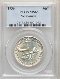 1936 50C Wisconsin MS65 PCGS. PCGS Population: (2383/2360). NGC Census: (1394/1670). CDN: $160 Whsle. Bid for NGC/PCGS M...