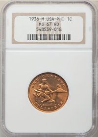 1936-M 1C Philippines Centavo MS67 Red NGC. NGC Census: (0/0). PCGS Population: (2/0). From The Mahal Collection, ...(PC...
