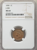 1858 P1C Indian Cent, Judd-208, Pollock-253-254, 259, 261, R.4-7, MS64 NGC. NGC Census: (19/5). PCGS Population: (15/5)...