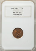 Philippines, 1904 1/2C Philippines Half Centavo PR66 Red NGC. PCGS Population: (2/0).. From The Mahal Collectio...