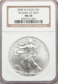 2008-W $1 Silver Eagle, Reverse of 2007, Burnished, MS70 NGC. NGC Census: (4940). PCGS Population: (601). 70....(PCGS# 3...
