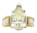 Estate Jewelry:Rings, Diamond, Gold Ring The ring centers a pear-sha...