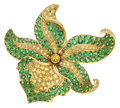 Estate Jewelry:Brooches - Pins, Tsavorite Garnet, Yellow Sapphire, Gold Brooch, Tiffany & Co. . ...