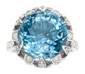 Estate Jewelry:Rings, Aquamarine, Diamond, Platinum Ring, Francesca Amfitheatrof for Tiffany & Co.. ...