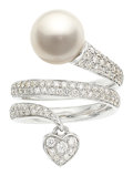 Estate Jewelry:Rings, South Sea Cultured Pearl, Diamond, White Gold Ring, Mikimo...