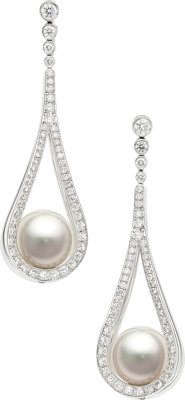 South Sea Cultured Pearl, Diamond, White Gold Earrings, Mikimoto