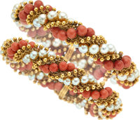 Coral, Cultured Pearl, Gold Bracelets, Van Cleef & Arpels, French