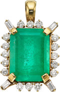 Estate Jewelry:Pendants and Lockets, Emerald, Diamond, Gold Pendant. ...