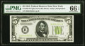 Small Size:Federal Reserve Notes, Fr. 1955-B $5 1934 Light Green Seal Federal Reserve Note. PMG Gem Uncirculated 66 EPQ.. ...