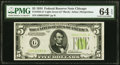 Small Size:Federal Reserve Notes, Fr. 1955-G* $5 1934 Light Green Seal Federal Reserve Note. PMG Choice Uncirculated 64 EPQ.. ...