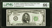 Fr. 1957-B* $5 1934A Federal Reserve Note. PMG Gem Uncirculated 66 EPQ
