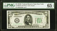 Fr. 1960-B* $5 1934D Federal Reserve Note. PMG Gem Uncirculated 65 EPQ