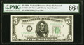 Small Size:Federal Reserve Notes, Fr. 1961-E* $5 1950 Narrow Federal Reserve Note. PMG Gem Uncirculated 66 EPQ.. ...