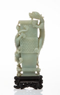 Carvings, A Chinese Celadon Jade Vase with Twin Dragons, Qing Dynasty. 8-1/4 x 4 x 1-1/2 inches (21.0 x 10.2 x 3.8 cm) (excluding base...
