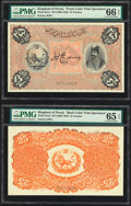 Iran Kingdom of Persia, Imperial Bank 25 Tomans ND (1890-23) Picks 6cts1; 6cts2 Front and Back Color Trial Specimen PMG...