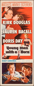 """Movie Posters:Drama, Young Man with a Horn (Warner Bros., 1950). Folded, Fine/Very Fine. Insert (14"""" X 36""""). Drama.. ..."""