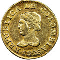 Colombia, Colombia: Republic gold Peso 1826 BOGOTA-JF AU55 NGC,...