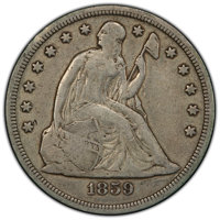 1859-S $1 Fine 15 PCGS. PCGS Population: (8/245 and 0/3+). NGC Census: (3/131 and 0/0+). CDN: $1,050 Whsle. Bid for NGC/...