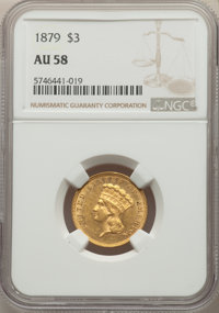 1879 $3 AU58 NGC. NGC Census: (95/237). PCGS Population: (52/388). CDN: $2,200 Whsle. Bid for NGC/PCGS AU58. Mintage 3,0...