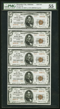 Alexander City, AL - $5 1929 Ty. 2 The First National Bank Ch. # 7417 Uncut Strip of Five PMG About Uncirculated 55