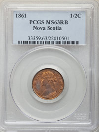 Canada: Nova Scotia. Victoria 1/2 Cent 1861 MS63 Red and Brown PCGS