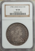 1798 $1 Large Eagle, Wide Date, B-23, BB-105, R.3, VF30 NGC. Bowers Die State II. A pleasing collector-grade example wit...