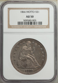 1866 $1 Motto AU50 NGC. OC-1, R.2. A Top 30 Variety. The date is repunched and the reverse is die doubled, although thes...