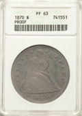 1870 $1 PR63 ANACS. OC-P2, High R.4. A deeply toned Select proof type coin, showing dusky slate-gray patina on both side...