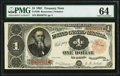 Large Size:Treasury Notes, Fr. 350 $1 1891 Treasury Note PMG Choice Uncirculated 64.. ...