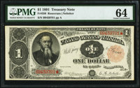 Fr. 350 $1 1891 Treasury Note PMG Choice Uncirculated 64