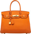 "Luxury Accessories:Bags, Hermès 30cm Orange H Togo Leather Birkin Bag with Gold Hardware. K Square, 2007. Condition: 4. 12"" Width x 8.5"" He..."