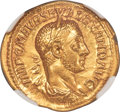Ancients:Roman Imperial, Ancients: Severus Alexander (AD 222-235). AV aureus (21mm, 6.26 gm, 7h). NGC MS 5/5 - 3/5, scratches....