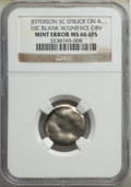 Errors, Undated 5C Jefferson Nickel -- Struck on a 10C Blank with Uniface Obverse -- MS66 Full Steps NGC....