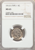 Buffalo Nickels, 1913-S 5C Type One MS65 NGC. NGC Census: (224/80). PCGS Population: (417/244). CDN: $675 Whsle. Bid for NGC/PCGS MS65. Mint...