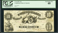 Confederate Notes:1861 Issues, T10 $10 1861 Cr. UNL PCGS Extremely Fine 40.. ...