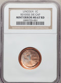 Errors, No Date 1C Memorial Reverse, Lincoln Cent -- Reverse Die Cap -- MS67 Red NGC....