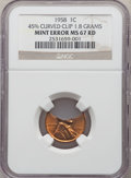 Errors, 1958 1C Lincoln Cent -- 45% Curved Clip -- MS67 Red NGC. 1.8 Grams....