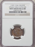 Errors, (1909-1958) 1C Lincoln Cent -- Obverse Struck Thru Capped Die -- MS62 Brown NGC....