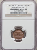 Errors, Undated 1C Memorial Reverse Lincoln Cent -- Obverse Struck Thru Capped Die -- MS64 Brown NGC....